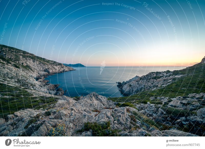 blaue Stunde Natur Landschaft Erde Luft Wasser Sonnenaufgang Sonnenuntergang Felsen Ferne frei groß Unendlichkeit Insel Korsika Mittelmeer Meer Farbfoto