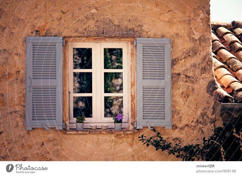Über dem Kopf. Kunst ästhetisch Zufriedenheit mediterran Fenster Fensterladen Fensterscheibe Fensterbrett Fensterblick Fensterrahmen Fensterkreuz Fensterfront
