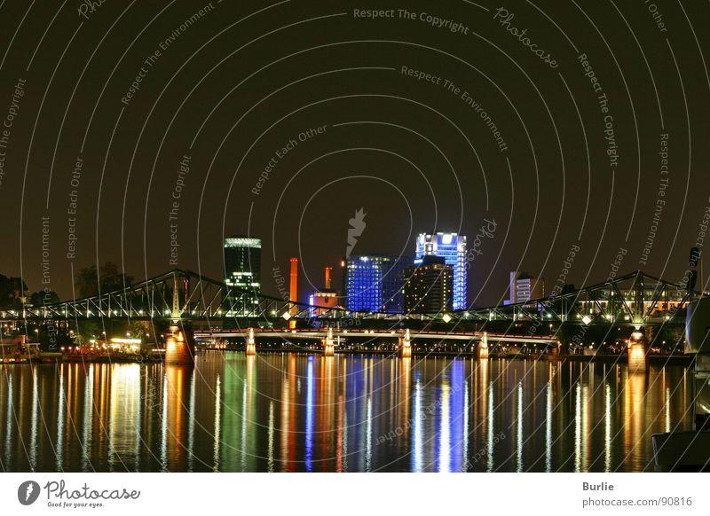 Frankfurter Lichterzauber Frankfurt am Main Nacht Hochhaus Romantik ruhig Langzeitbelichtung Wasser Lampe Reflexion & Spiegelung Frieden