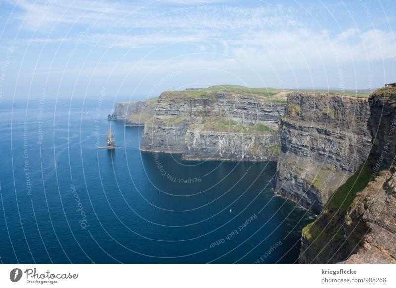 Cliffs Natur Landschaft Urelemente Erde Wasser Himmel Sommer Schönes Wetter Wiese Hügel Felsen Küste Meer Klippe Stein Menschenleer Sehenswürdigkeit Wahrzeichen