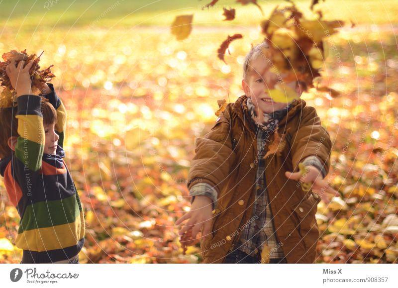 Laubschlacht Mensch Kind Blatt Freude Herbst Gefühle Junge Spielen lachen Garten Stimmung Freundschaft Familie & Verwandtschaft Freizeit & Hobby Kindheit