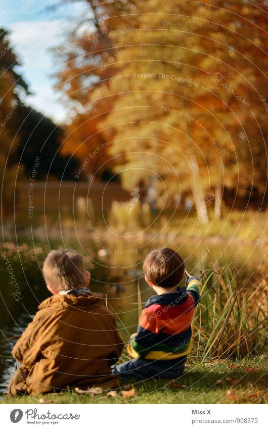 Zwei am See Mensch Kind Natur Ferne Herbst Gefühle Küste Junge Spielen See Stimmung Freundschaft Zusammensein Familie & Verwandtschaft Freizeit & Hobby Idylle