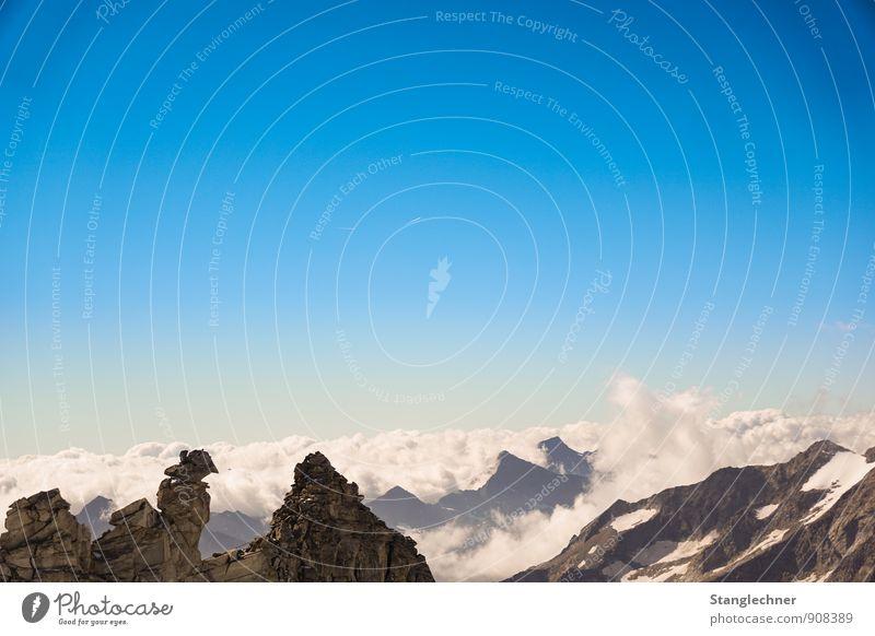 Wolken meer Natur Landschaft Klima Wetter Schönes Wetter Eis Frost Schnee Berge u. Gebirge Tux Gipfel Schneebedeckte Gipfel Gletscher atmen ästhetisch