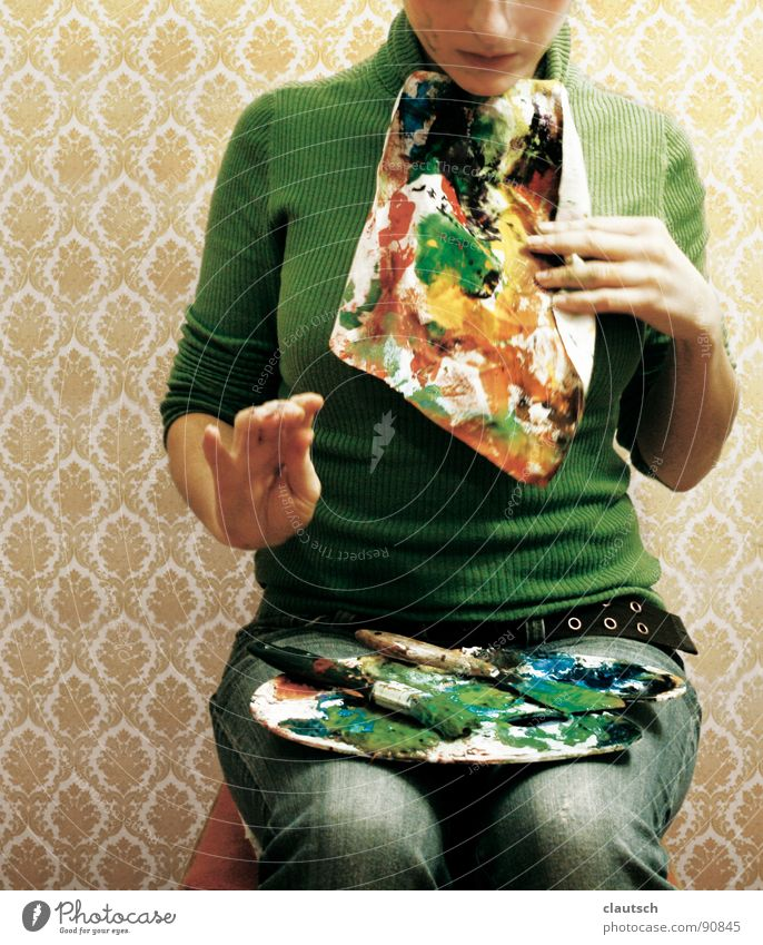 kunstgenuss Kunst genießen Mahlzeit Ernährung Tapete grün mehrfarbig Serviette Pinsel Paletten Guten Appetit Kunsthandwerk Farbe streichen bon appetit