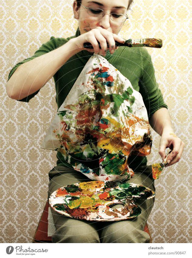 kunstgenuss2 Kunst genießen Mahlzeit Ernährung Tapete grün mehrfarbig Serviette Pinsel Paletten Guten Appetit Kunsthandwerk streichen Farbe bon appetit
