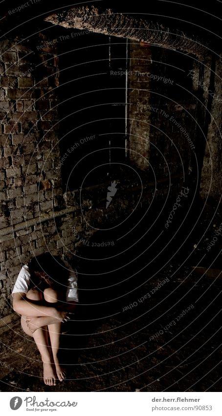 allein 2 Frau Staub Insekt Holz Karton Backstein nackt Fenster verfallen braun schwarz Europa Rheinland-Pfalz Speyer Keller Gefühle Angst Panik Beine dreckig