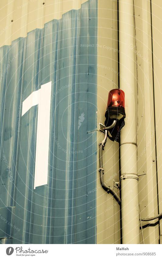 Lampe Nr.1 Design Sicherheit Gebäude Architektur Halle Metall Zeichen Ziffern & Zahlen Arbeit & Erwerbstätigkeit Kommunizieren leuchten bedrohlich blau grau