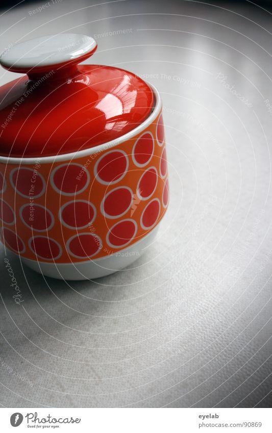 Zucker das Döschen alt Einsamkeit orange süß retro Küche Vergangenheit Geschirr Süßwaren obskur Dose Sechziger Jahre altehrwürdig Qualität Gully