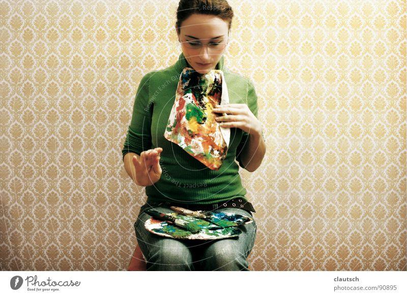 kunstgenuss - bon appetit Kunst genießen Mahlzeit Ernährung Tapete grün mehrfarbig Serviette Pinsel Paletten Guten Appetit Kunsthandwerk streichen Farbe