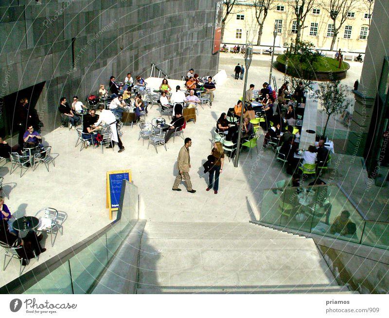 Terasse Café Platz Architektur Mensch Leiter