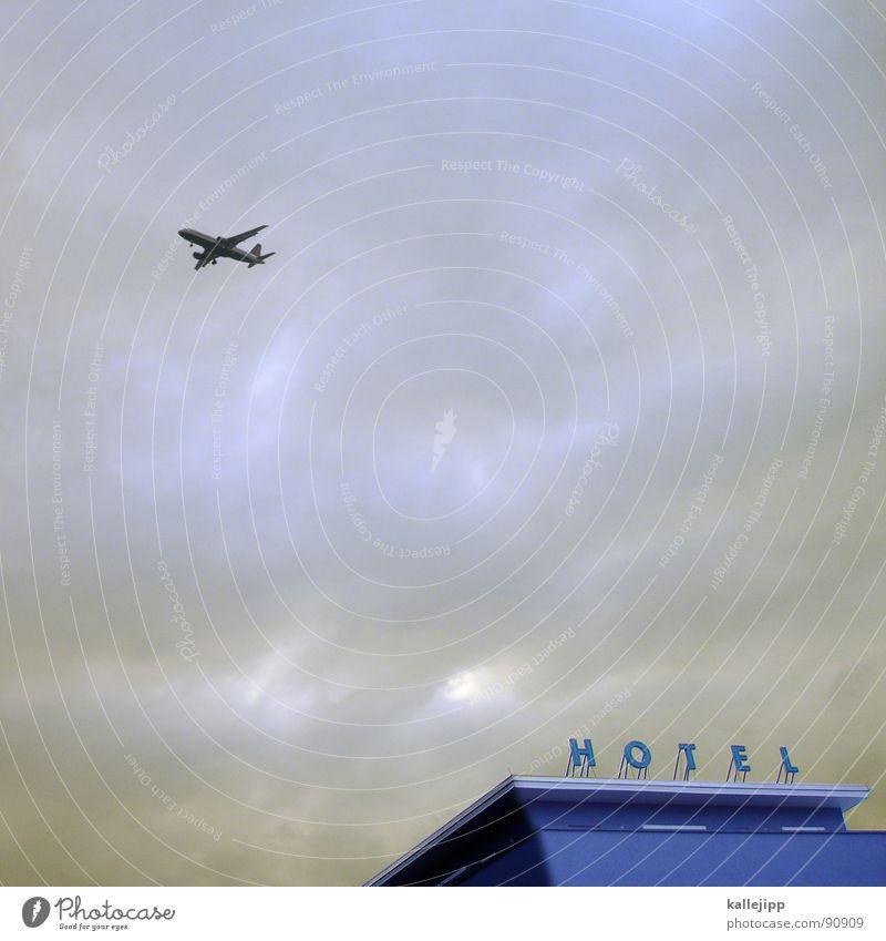ins blaue Freude Ferien & Urlaub & Reisen Erholung Raum Flugzeug Luftverkehr Schriftzeichen Werbung Hotel Flughafen Typographie Tourist Mallorca Passagier