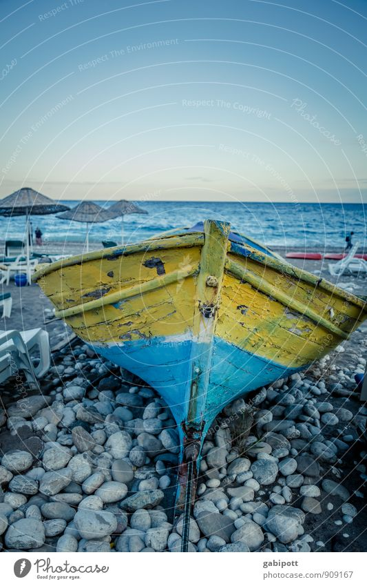 Landflucht Ferien & Urlaub & Reisen blau Sommer Sonne Erholung Meer Strand Ferne gelb Horizont träumen Idylle Tourismus Fröhlichkeit Ausflug Schönes Wetter