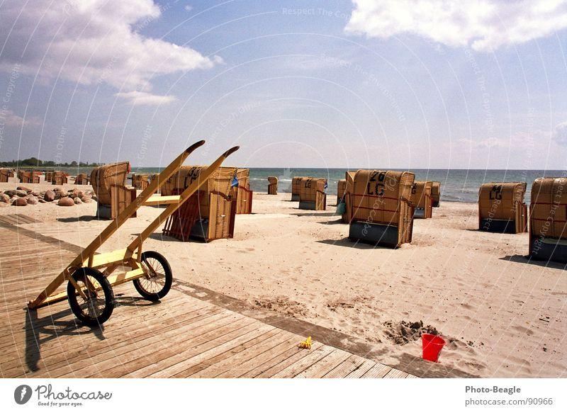 Strandkorbkarren Wasser Sonne Meer Sommer Strand Ferien & Urlaub & Reisen Sand Deutschland Idylle Ostsee Schönes Wetter Strandkorb