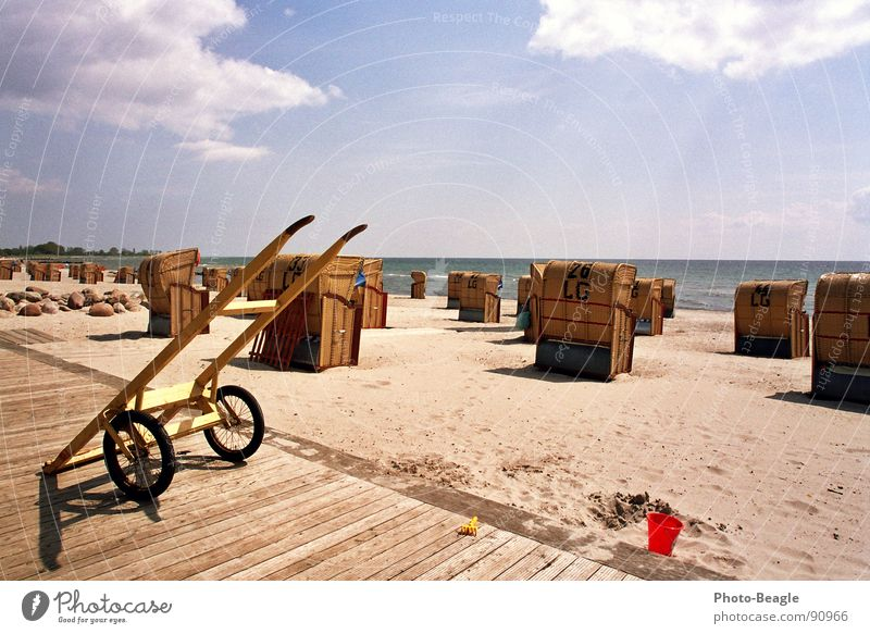 Strandkorbkarren Wasser Sonne Meer Sommer Ferien & Urlaub & Reisen Sand Deutschland Idylle Ostsee Schönes Wetter