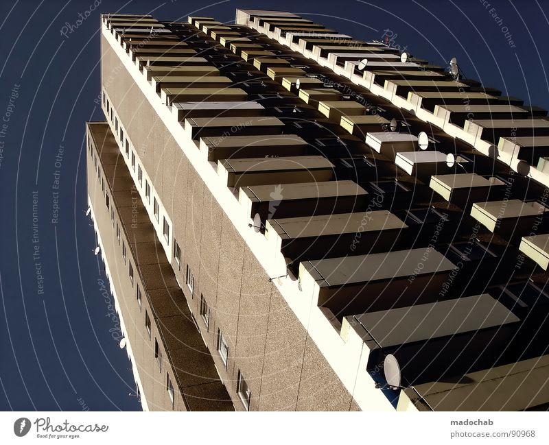 SATELITE OF LOVE Himmel Stadt Haus Leben Fenster Mauer Gebäude orange Arbeit & Erwerbstätigkeit Tür Wohnung hoch Beton Design Treppe