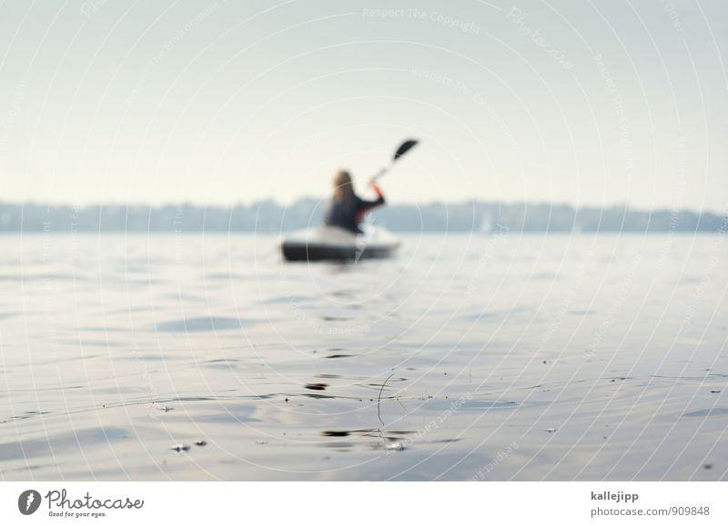 anpaddeln Sport Wassersport Mensch 1 Umwelt Natur Landschaft See nass natürlich Paddeln Kajak Mädchen Schlei Wasseroberfläche Sportgerät Wasserfahrzeug