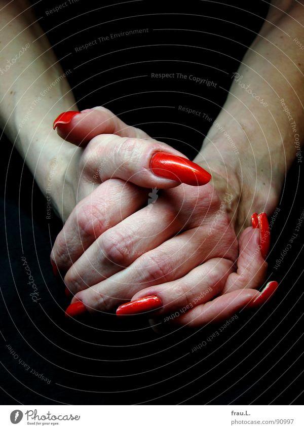 Vogelfrau Frau Mensch Hand rot Erholung Arbeit & Erwerbstätigkeit lang Handwerk Friseur Nagel Waffe extrem Krallen verwundbar Kosmetik Nagellack