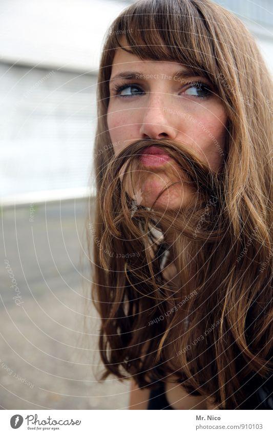 voll(der)bart Lifestyle Haare & Frisuren feminin Junge Frau Jugendliche Gesicht Lippen 1 Mensch 18-30 Jahre Erwachsene brünett langhaarig Bart Oberlippenbart