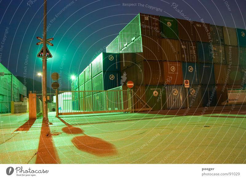 Industry By Night Industrie Hafen Scheinwerfer Container Basel