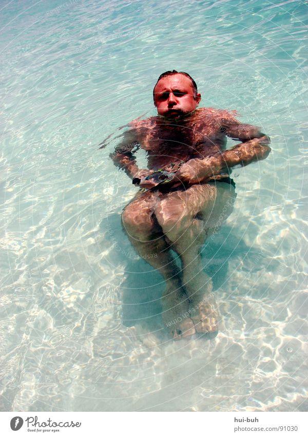 Der Vater im Wasser Sommer Freude Wärme Sand Schwimmen & Baden Wellen Klarheit Schwimmbad Physik heiß brechen Prima Wetterschutz Bruch Wunde