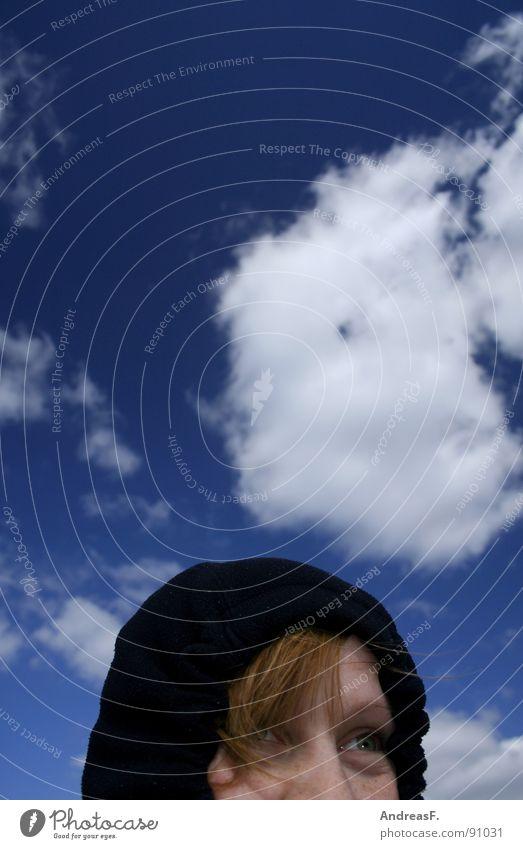Weathergirl Frau Himmel Winter Gesicht Wolken kalt Eis Wind Wetter Ausflug Schutz Sturm Jacke Leidenschaft Mütze verstecken