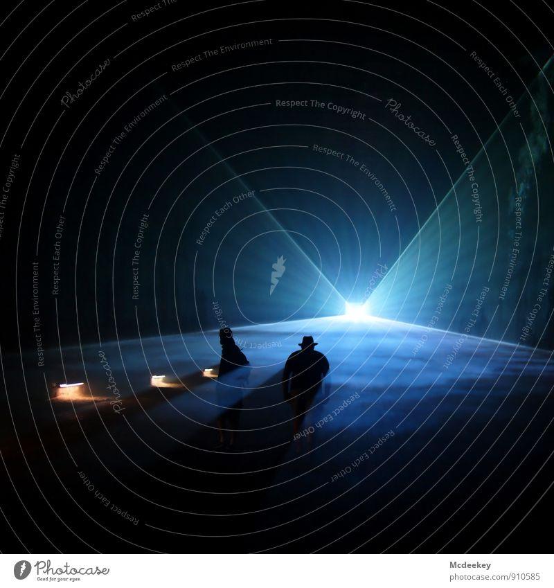 Lightgames IV Bergbau Mensch maskulin Freundschaft Körper 2 18-30 Jahre Jugendliche Erwachsene Laser Lasershow leuchten stehen außergewöhnlich dunkel