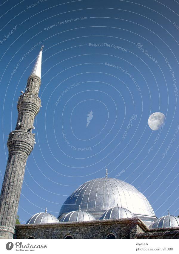 Religion hat auch schöne Seiten Himmel Sonne blau Sommer Haus Fenster Gebäude Religion & Glaube Macht Frieden Turm Asien Arabien Mond Lautsprecher Krieg
