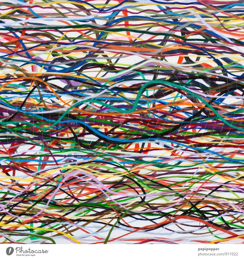 Stringtheorie Freizeit & Hobby Graffiti sprayer Kunst Gemälde Mauer Wand Fassade Linie Streifen mehrfarbig chaotisch Tag Dinge Hintergrundbild Formatfüllend