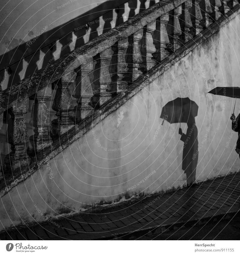 Regennacht Mensch Frau Jugendliche Junge Frau Hand 18-30 Jahre dunkel Erwachsene Wand feminin Mauer Gebäude grau gehen Regen Treppe