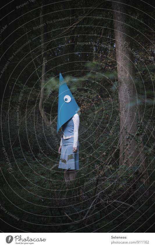 Pappschachtel Karneval Mensch feminin Frau Erwachsene 1 Umwelt Natur Wald Rock Kostüm Maske stehen Gefühle bizarr skurril Surrealismus Auge Karton Farbfoto