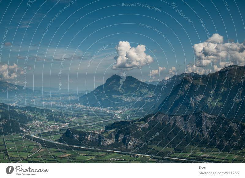 St. Galler Rheintal Umwelt Natur Landschaft Urelemente Erde Himmel Wolken Sonne Herbst Klima Wetter Schönes Wetter Pflanze Baum Wiese Hügel Felsen Alpen