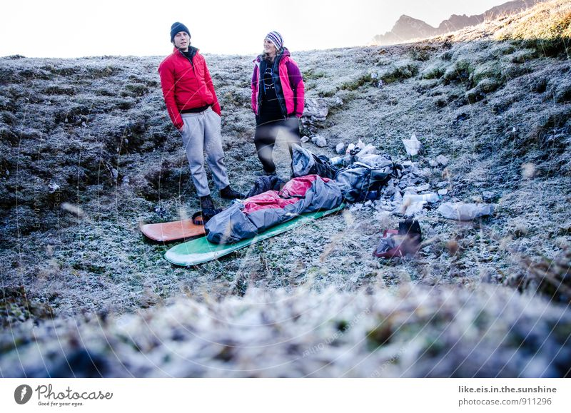 zapfig wars da herobn am berg. Mensch Natur Berge u. Gebirge Herbst feminin maskulin Abenteuer Camping Schlafsack