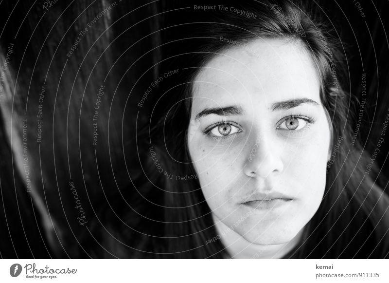 Unverblümt Lifestyle feminin Junge Frau Jugendliche Erwachsene Leben Gesicht Auge Nase Mund Lippen 1 Mensch 18-30 Jahre schwarzhaarig langhaarig Blick