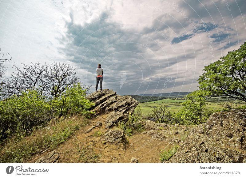 Ausschau Mensch feminin Junge Frau Jugendliche Körper Rücken Beine 1 18-30 Jahre Erwachsene Umwelt Natur Landschaft Pflanze Luft Himmel Wolken Horizont Sommer