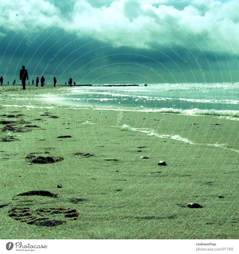 beachcombers Strand Wolken Sand Küste Deutschland Wellen Spaziergang Nordsee Fußspur Spuren Schaum Kieselsteine