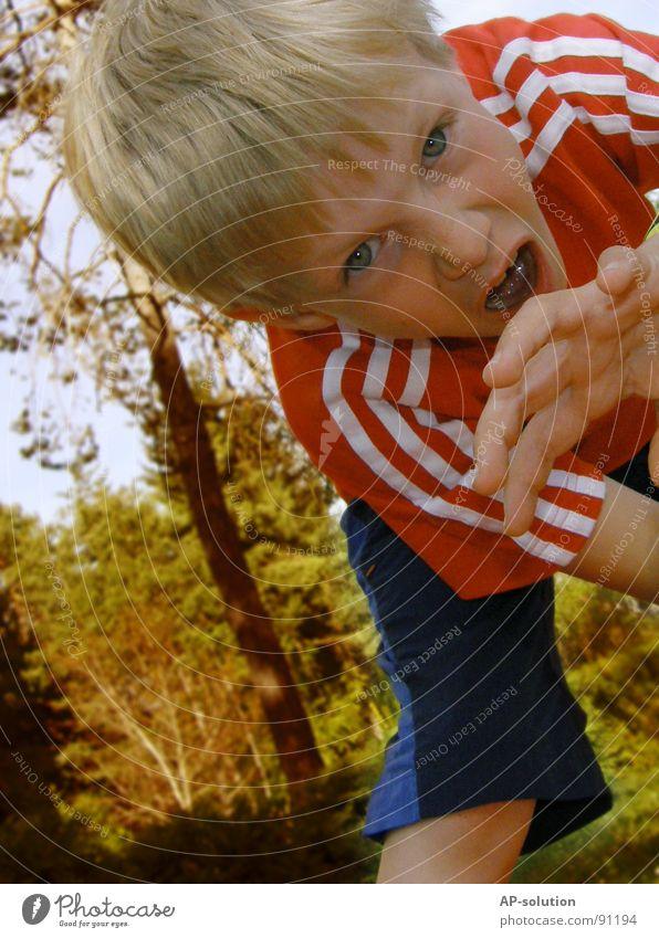 OAAAHHHRR! Mensch Kind Natur Hand rot Freude Gesicht Wald Junge Gefühle lustig blond Finger T-Shirt Wut Theaterschauspiel