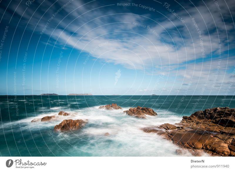 Weite Himmel Natur blau weiß Meer Landschaft Wolken schwarz Küste braun Horizont Wellen Wind Schönes Wetter Urelemente Bucht