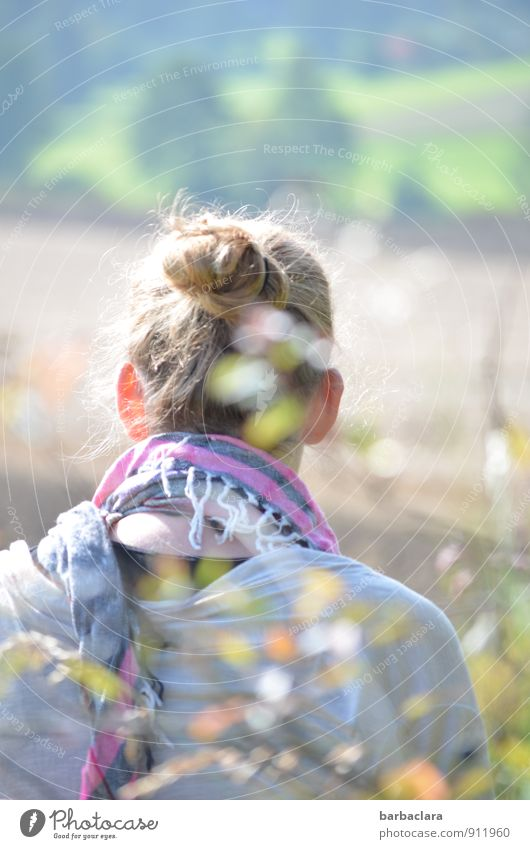 Seelenbalsam | draußen sitzen feminin Frau Erwachsene 1 Mensch Natur Landschaft Sonne Schönes Wetter Sträucher Blatt Schal Tuch blond Zopf hell Wärme Gefühle