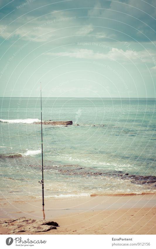 unbesetzte Rolle harmonisch Wohlgefühl Sinnesorgane Erholung ruhig Freizeit & Hobby Angeln Sport Umwelt Natur Landschaft Erde Sand Luft Wasser Himmel Wolken