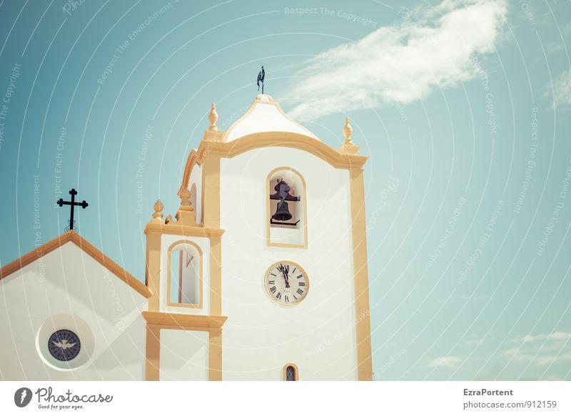 pouco antes de 12 Himmel Ferien & Urlaub & Reisen blau weiß Wolken Haus gelb Wand Architektur Mauer Gebäude Religion & Glaube glänzend Fassade Uhr ästhetisch