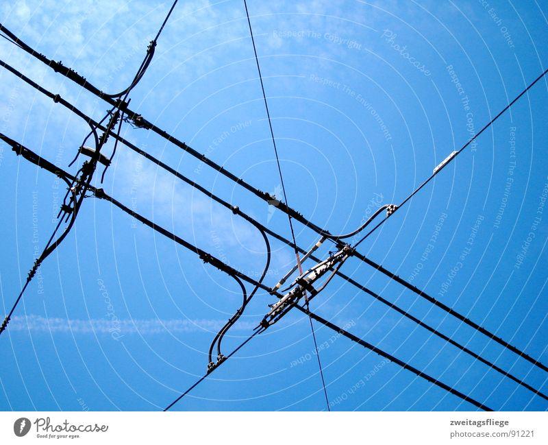 Netz Himmel blau Linie Verkehr Elektrizität Leitung Straßenbahn Öffentlicher Personennahverkehr