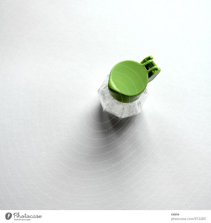 Frühstücksei Lebensmittel Kräuter & Gewürze Salz Salzstreuer Ernährung Gastronomie Glas Kunststoff stehen klein rund Sauberkeit grün weiß sparsam