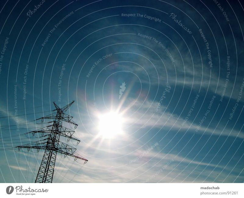 TREIBENDE KRAFT Himmel Sonne Wolken Lampe Linie Kraft Energiewirtschaft Schönes Wetter Elektrizität Turm Macht Klarheit Kontakt Industriefotografie Verbindung