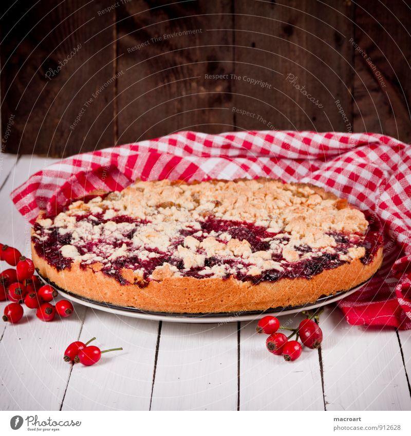 Pflaumenkuchen Streußelkuchen Kuchen Frucht Obstkuchen Landhaus Hundsrose Hagebutten Tischwäsche Küchenhandtücher pflaumenkuchen Holztisch braun alt retro