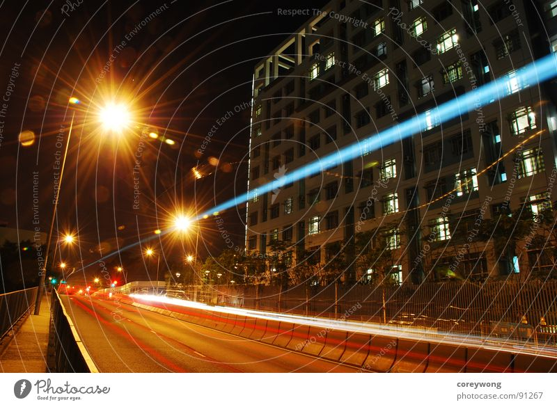 Night Motion Hongkong Langzeitbelichtung Lines night street lamp city university radiate stripe vibrancy trace