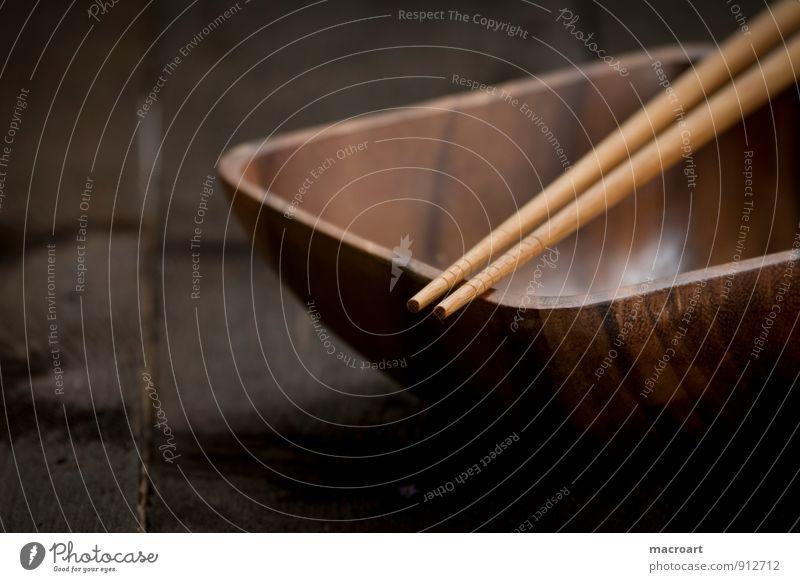 Bambusschale Schalen & Schüsseln Essstäbchen China Speise Essen Foodfotografie Geschirr Holz Holztisch Nahaufnahme Asiatische Küche Besteck bambusschüssel