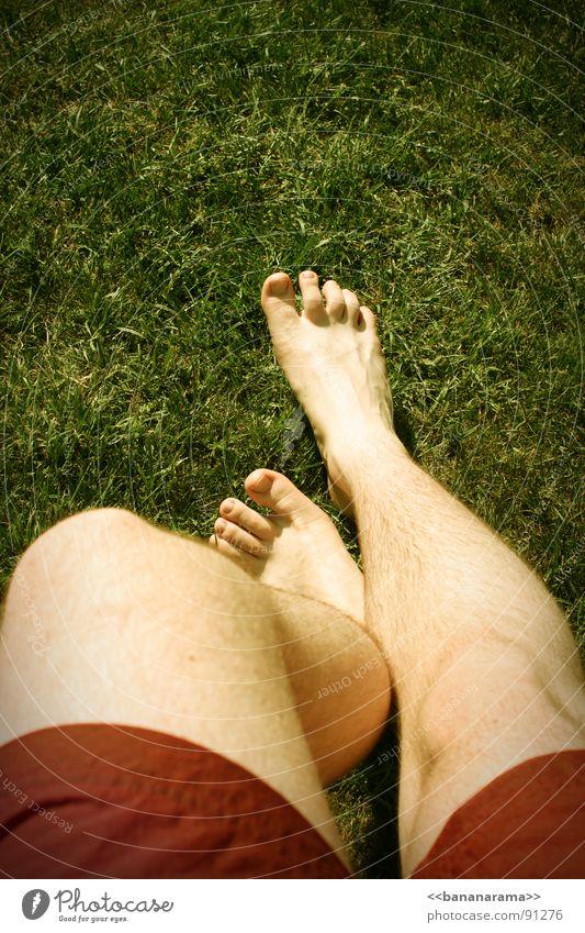 Padapapada! Frühling Badehose rot Gras Sommer bezaubernd Schwimmbad Sportplatz Frühlingsgefühle Feet Beine Fuß Sexy time Rasen meine Träume