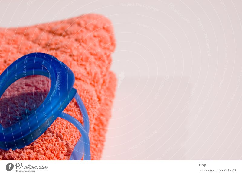 Schwimmzubehör II blau Sommer orange Schwimmen & Baden Freizeit & Hobby Pause Brille weich tauchen Erwartung Handtuch Aufgabe Frottée Schwimmbrille