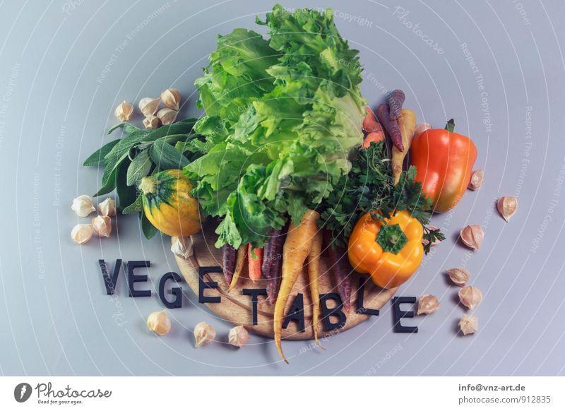 VEGETABLE gelb Lebensmittel Ernährung gut Gemüse Bioprodukte Typographie Diät Salat Vegetarische Ernährung Salatbeilage Möhre Paprika Italienische Küche Slowfood Salbei