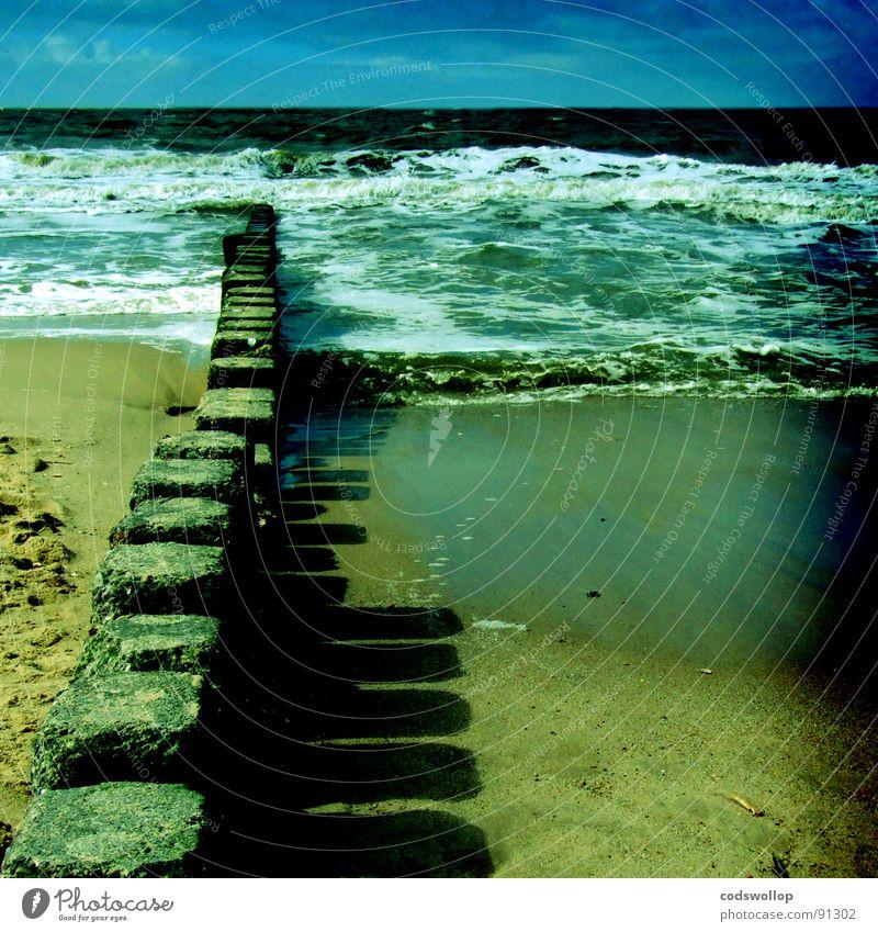 schatten außenminister Himmel Strand See Wellen Küste Nordsee Buhne